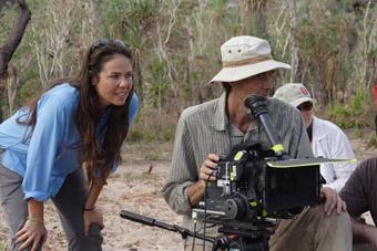 Darlene Johnson and Kim Batterham on location, Crocodile Dreaming