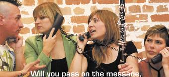 Harm Te Kuru, Nerida Matthaei, Nicole Canham, Skye Sewell, Phluxus dance collective program image, Chinese Whispers/Broken Telephone