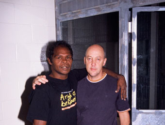 Richard Wanambi and Trevor Graham (director) </ BR> in a cell at the Supreme Court Darwin&#8221;></p> <p class=