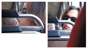 Kylie Johnson sits behind boys on public transport