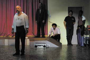 Company B, Antigone: left - right Boris Radmilovich, Paul Blackwell, Hazem Shammas, James Saunders, Pacharo Mzembe