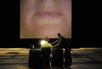 Barbara Campbell and technician Richard Manner preparing for night 1001 webcast of 1001 nights cast at Performance Space at Carriageworks, March 17, 2008