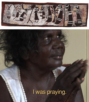 Incident at Mutpi, 1975, Nyapanyapa Yunupingu, bark painting and video still