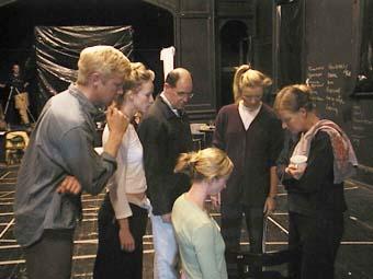Simon Wilton, Lucy Taylor, Mark Minchinton, Natasha Herbert, Margaret Mills, Felicity MacDonald, rehearsals for Still Angela