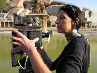 Preparing the Seitz VR Roundshot stereographic panoramic camera for photography at the Krishna Tank