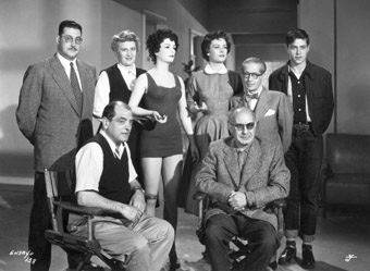 On location for The Criminal Life of Archibaldo de la Cruz. Standing: Jacinto Lasa, Jeanne Rucar, Miroslava Stern,  Jose Ignacio Mantecon and Rafael Buñuel. Seated: Luis Buñuel and Ernesto Ugarte.  México 1955