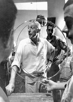 Len Lye on the set of Fountain of Hope, 1959