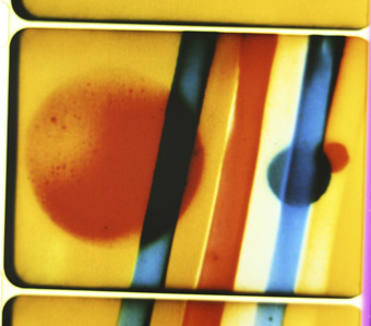 film still from Colour Flight, 1938, Len Lye