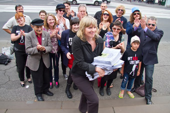 """Save Live Music in Melbourne - a petition with 22,000 signatures calling for the the delinking of live music and """"high risk"""" licencing conditions, delivered to the Victorian Government April 7"""