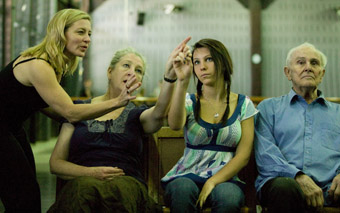 Kate Champion in rehearsal with cast members from Force Majeure's The Age I'm In
