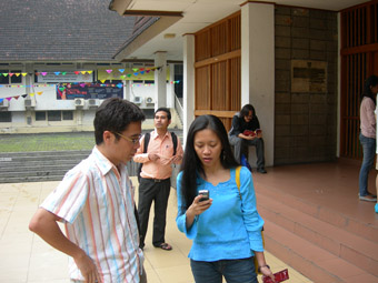 l-r: Giang Dang, Phalla San, Joelle Jacinto [outside theatre]