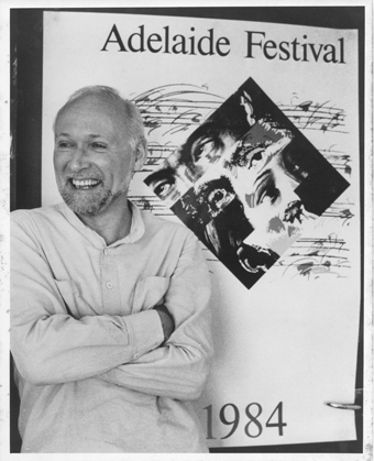 Anthony Steel with Adelaide Festival poster 1984