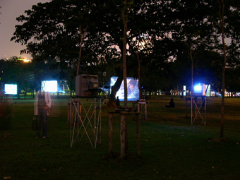 installation view of Bangkok Democrazy in Lumpini Park