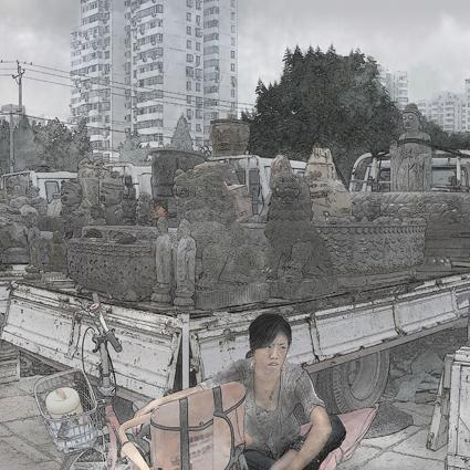 Beijing Handscroll (detail, 2009), Miao Xiaochun