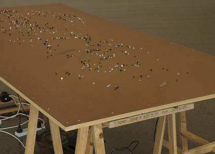 Arlo Mountford & Nick Selenitsch, Movement work #1, Wood, turntables, magnets, metal tacks, motion sensors, 2011