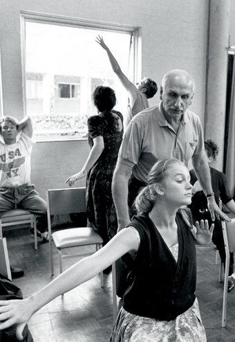 Keith Bain teaching at NIDA Open Day July 1993. Sophie Heathcote in the foreground (NIDA Archive)