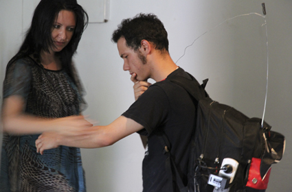 Human Theramin, Luke Pasquale Calarco and audience member