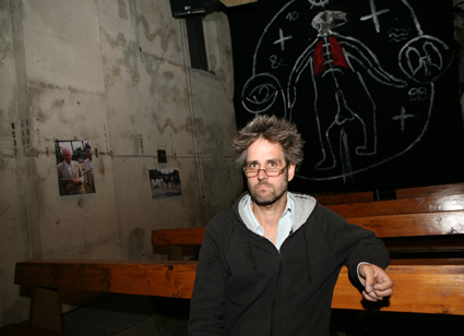 Christoph Schlingensief preparing for Church of Fear (2003)
