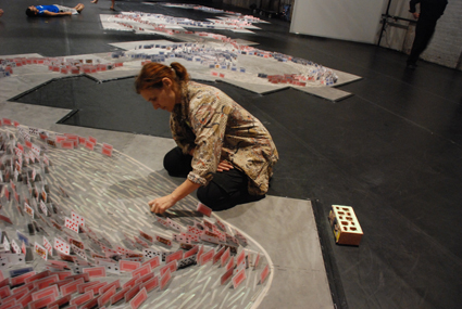 Vicki van Hout working on the installation/set of Briwyant