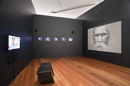Vernon Ah Kee, Ideas of Barak 2011 Brisbane, Queensland charcoal on canvas, video installation, Felton Bequest 2011