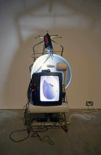 Ian Burns, 15 hours v4, 2010, found object, kinetic sculpture, live video and audio