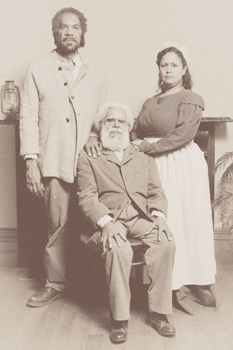 Greg Fryer, Uncle Jack Charles (seated) and Melodie Reynolds, Coranderrk: We Will Show the Country, Ilbijerri/The Minutes of Evidence Project/La Mama