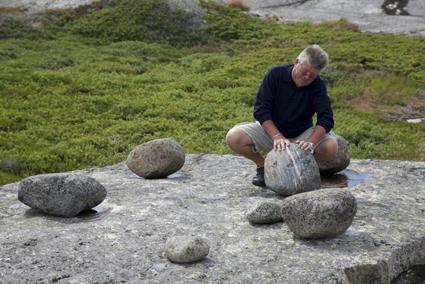 Nigel Helyer in the Archipelago, operating Thunder Stones—primitive foghorns