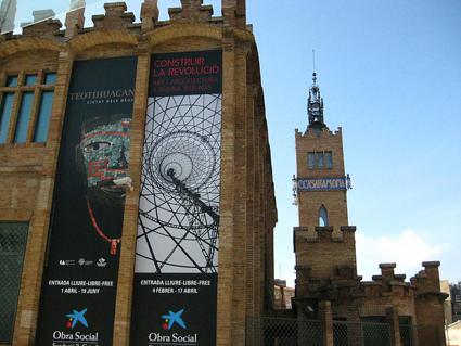 La Caixa Forum with poster for Russian Constructivist Architecture show