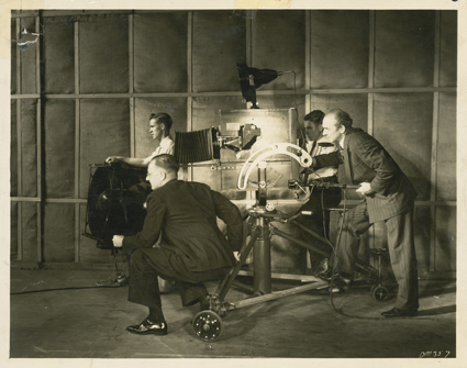 The Silence of Dean Maitland (1935), left: Frank Hurley (cinematographer); seated: Ken G Hall (director); photo courtesy of National Film and Sound Archive