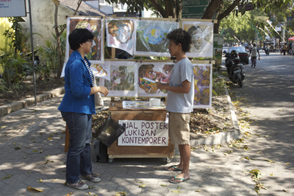 Pirated contemporary Indonesian artworks for sale on Yogya's sidewalks, $1 each, (Prihatmoko Moki, 2012)