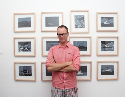 Malcolm Smith at his exhibition opening at Lir Space in Yogyakarta, 2012