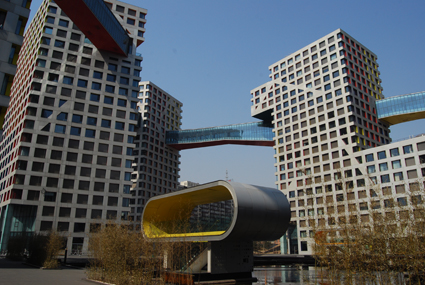The futuristic surrounds of the MOMA residential complex, home to Beijing's only arthouse cinema, Broadway Cinematheque