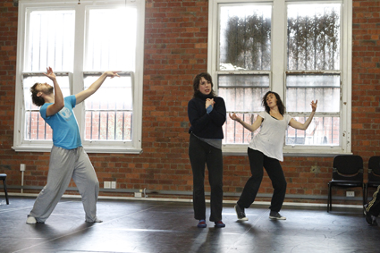 Rennie McDougall, Alison Bell & Harriet Ritchie rehearsing Conversation Piece