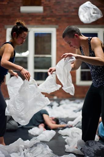 Lilian Steiner, Kirstie McCracken, rehearsing Weather
