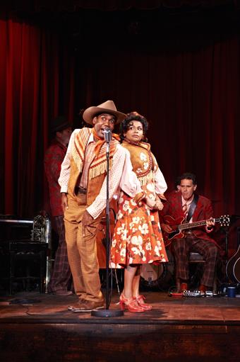 Trevor Jamieson, Ursula Yovich and David Milroy on guitar in his play Waltzing the Willara, Yirra Yaakin Theatre