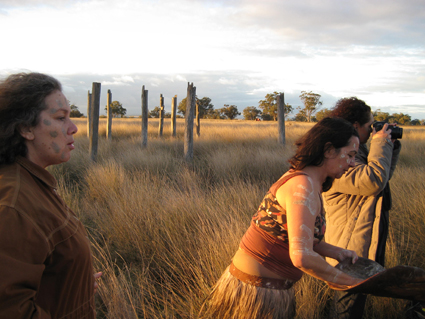 Aunty Rhonda Dixon-Grovenor, Lily Shearer, Michelle Blakeney, working on Posts in The Paddock, My Darling Patricia & Moogahlin Performing Arts