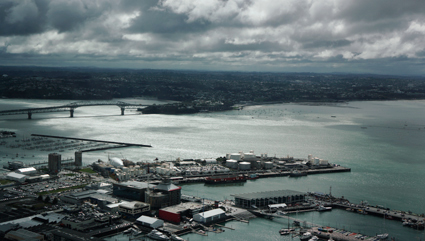 view of Auckland harbour from the Sky Tower