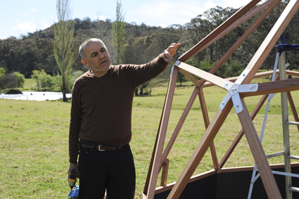 Gary Warner installs his Geodesic dome