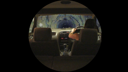 Driving to the Centre of the Earth (detail), silent HD video, Erin Coates, Yonder, PICA