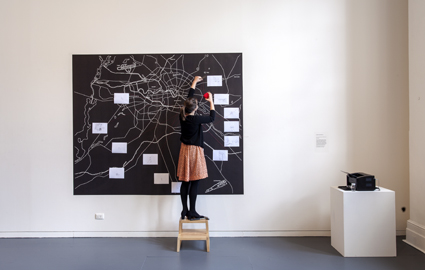 Simon Faithfull, Limbo: An Expanding Atlas of Subjectivity, 2012, digital drawing, pictured with Renae Coles, Yonder, PICA