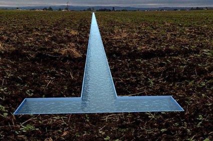 Fiona Kemp, Lap Lane, site-specific work of a 46mx20cmx10cm trough embedded into the ground, coloured chlorine blue and filled with water