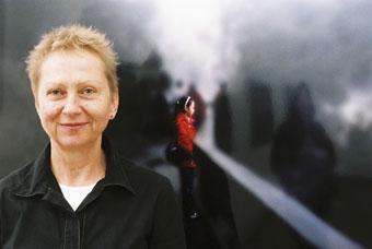 Gitte Weise in front of Cherine Fahd's Looking Glass, Rotorua