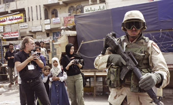 Tahir Cambis and Helen Newman filming Anthem (2004) in Afghanistan
