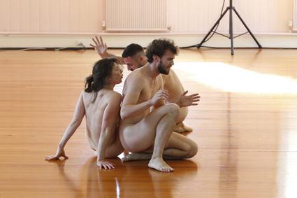 Deanne Butterworth, Rennie McDougall, Matthew Day (rear), Tomorrow, development at Abbotsford Convent, 2012, choreographer Phillip Adams