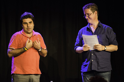 White Rabbit Red Rabbit, writer Nassim Soleimanpour stops the performance by Richard Fidler and introduces himself to the audience at WTF2013, Brisbane