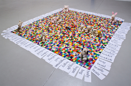 Bronwyn Platten, For more and more love hours (R.I.P. Mike Kelley 1954-2012), 1973-2013, hand-stitched marimeko quilt, found soft toys, oats, liquorice, treacle