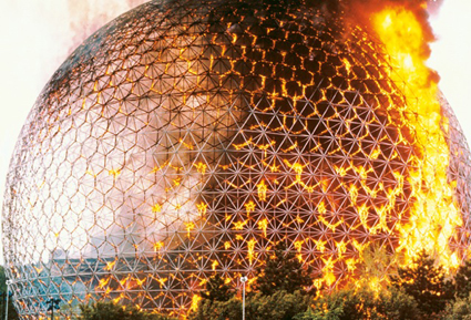 Buckminster Fuller's Anne's Taj Mahal on fire, Montreal, 20 May 1976, from Cabinet Issue 32, Fire