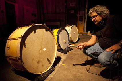 Alvin Lucier's Music for Pure Waves, Bass Drums and Acoustic Pendulums