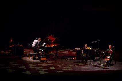 Stuart James, Aaron Wyatt, Tristen Parr performing Daniel Mayer's Lokale Orbit/Trio 1 for violin, cello, piano and electronics, THNMF13