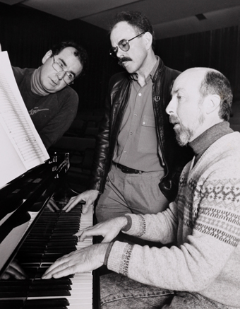 Ian McGrath, Peter Shepherd and David Vance in rehearsal, 1990, School of Creative Arts, University of Wollongong